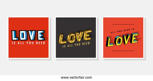 3d love lettering set on gray and red backgrounds vector design