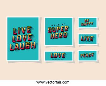 3d live love laugh and be happy lettering on blue backgrounds   design