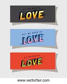 3d love lettering set on gray blue and red backgrounds vector design