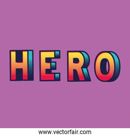 3d hero lettering on blue background vector design