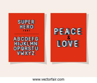 3d peace and love lettering and alphabet on red backgrounds vector design