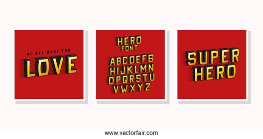 3d super hero love lettering and alphabet on red backgrounds vector design