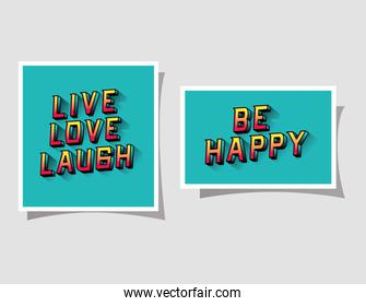 3d live love laugh and be happy lettering on blue backgrounds vector design