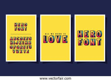 3d super hero love lettering and alphabet on yellow backgrounds vector design