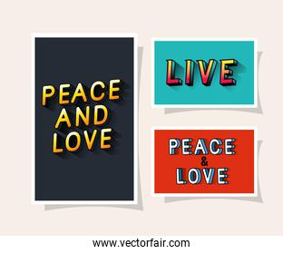 3d peace and love and live lettering on gray blue and red backgrounds vector design
