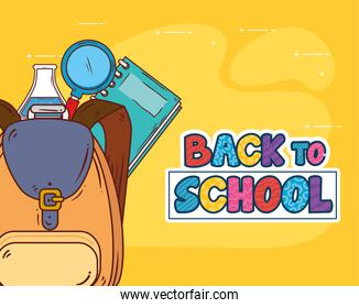 back to school banner with backpack and education supplies