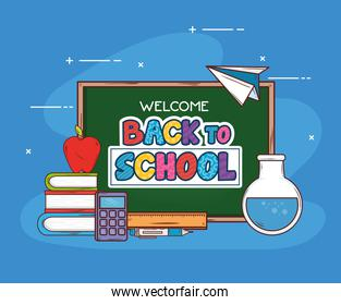 back to school banner with chalkboard and education supplies icons