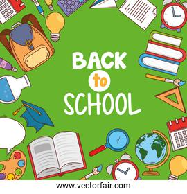 back to school banner with set supplies education icons