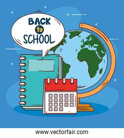 back to school banner with world planet and supplies education