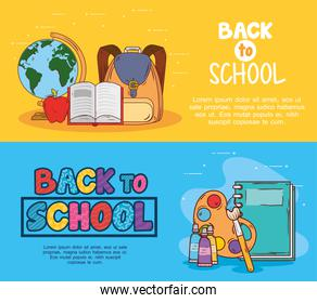 banners of back to school with supplies education