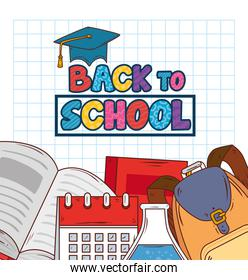 back to school banner, with backpack and education supplies