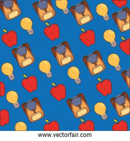 background of school bags with apples and light bulbs