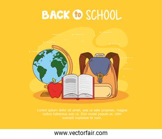 back to school banner with backpack, and education supplies