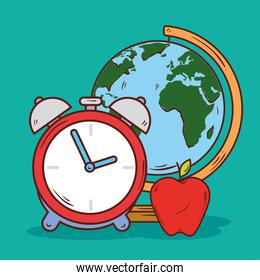 clock alarm with apple and world planet school supply