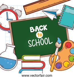 back to school banner with chalkboard and education supplies