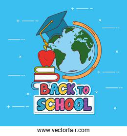 back to school banner, with world planet and supplies education