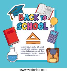 banner back to school, with set supplies education