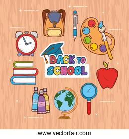 back to school banner, with backpack and icons of education supplies on wooden background