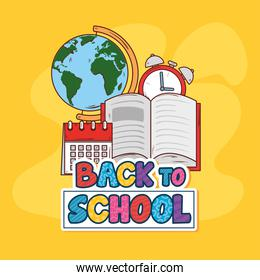 back to school banner with open book and supplies education