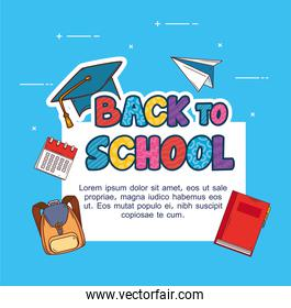 banner back to school, with set of supplies education