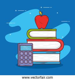 pile books with calculator and apple fruit