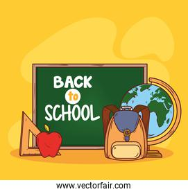 back to school banner, with chalkboard and education supplies