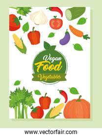banner with vegetables icons, concept healthy food