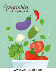 banner with vegetables in bowl, concept healthy food