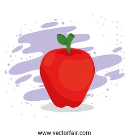 apple red fruit on white and purple background