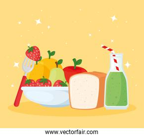 set of healthy and fresh fruits