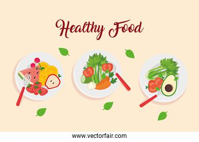 banner with fruits and vegetables in dishes, healthy food concept