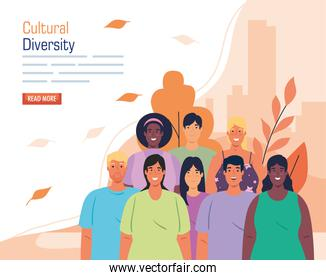 multiethnic group people together in cityscape, cultural and diversity concept