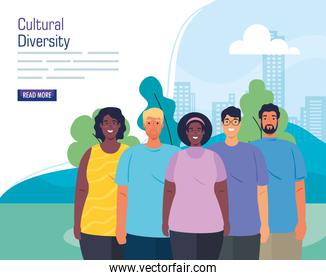 multiethnic group of people together in cityscape, cultural and diversity concept