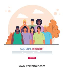 cartel of group people together on scene nature, cultural and diversity concept