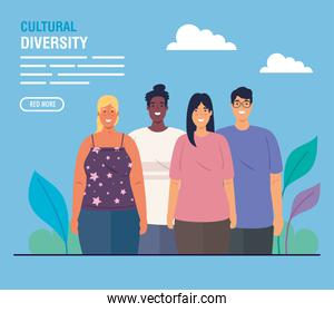 banner of group people together on scene nature, cultural and diversity concept
