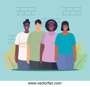 multiethnic group people together, cultural and diversity concept