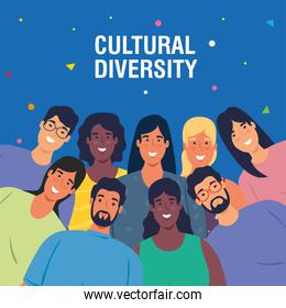 multiethnic young people together, cultural and diversity concept