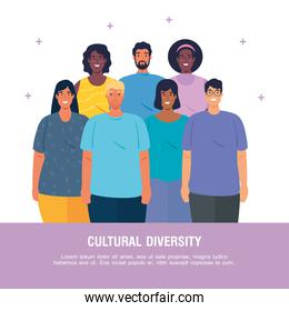 banner of multiethnic young people together, cultural and diversity concept