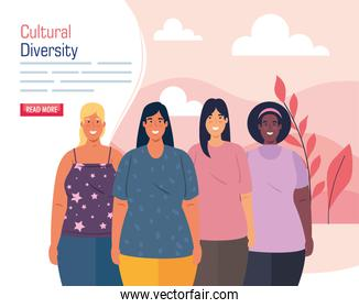 multiethnic group women, cultural and diversity concept
