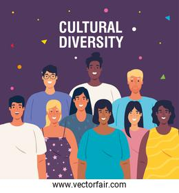 multiethnic young people together, diversity and cultural concept