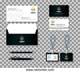 corporate identity brand mockup, mockup of stationery supplies, black color with golden sign