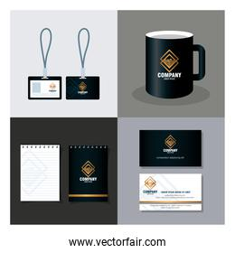 set scenes of corporate identity brand mockup with stationery supplies