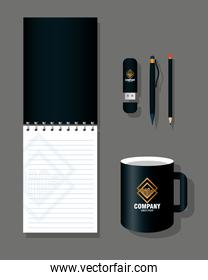 brand mockup corporate identity, mockup stationery supplies color black with golden sign