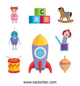 set icons of cute toys kids