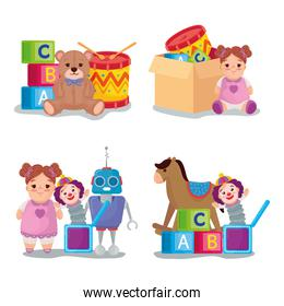 set icons, cute toys kids