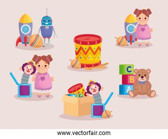 collection of cute kids toys