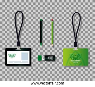 mockup stationery supplies color green with sign leaves, corporate identity green