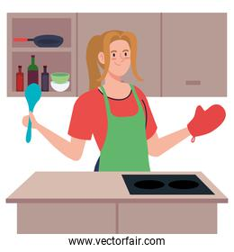 woman cooking using apron, in the kitchen scene