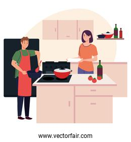couple cooking in the kitchen scene