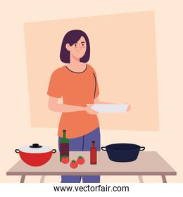 woman cooking in the kitchen scene